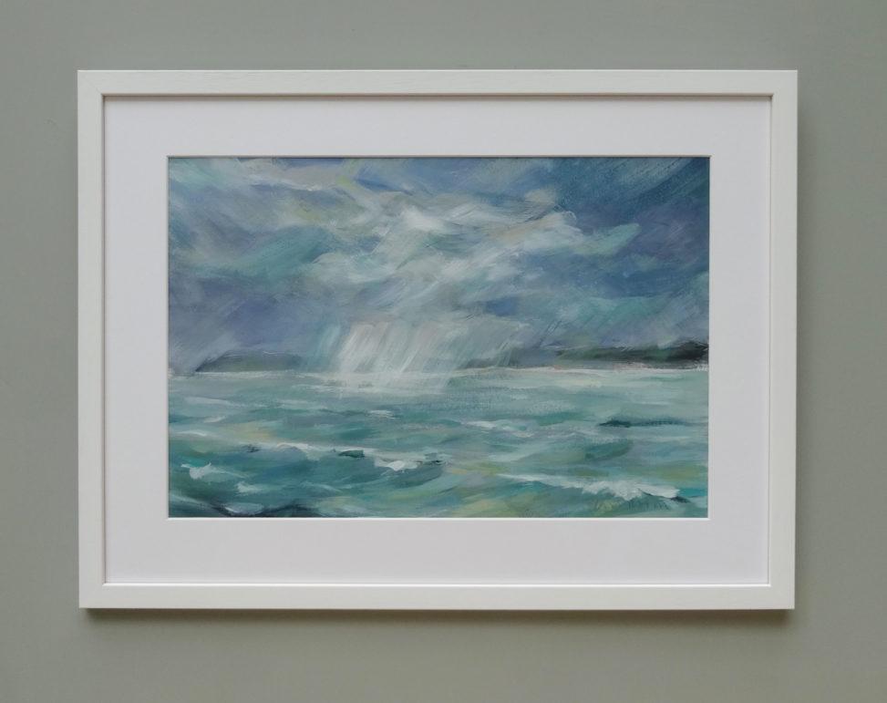 'Rain Over the Strait' framed work on paper