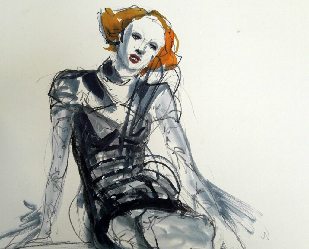 Online life drawing with Drawing Cabaret Couture. 10 minute pose in ink and graphite (Model: Janet Mayer, sets and direction: Mathew Lawrence, fashion by Antonia Nae Designs and shoes by Natacha Marro London)