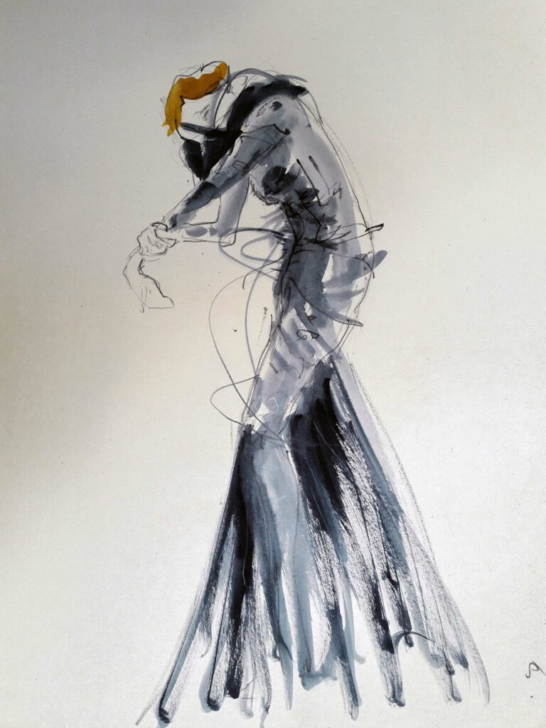 Online life drawing with Drawing Cabaret Couture. 5 minute pose in ink and graphite (Model: Janet Mayer, sets and direction: Mathew Lawrence, fashion by Antonia Nae Designs and shoes by Natacha Marro London)