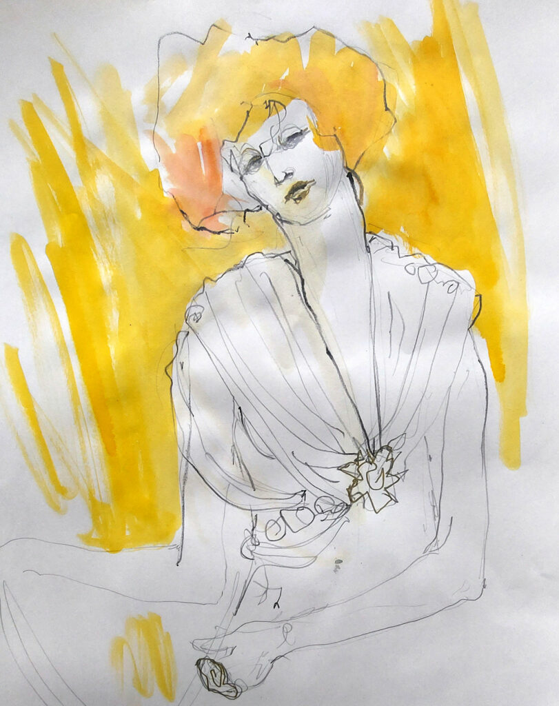 Klimt inspired Drawing Cabaret Couture online session (Model: Janet Mayer sets and direction Mathew Lawrence Fashion: Genieve Couture and We Are Fep) 10-minute pose