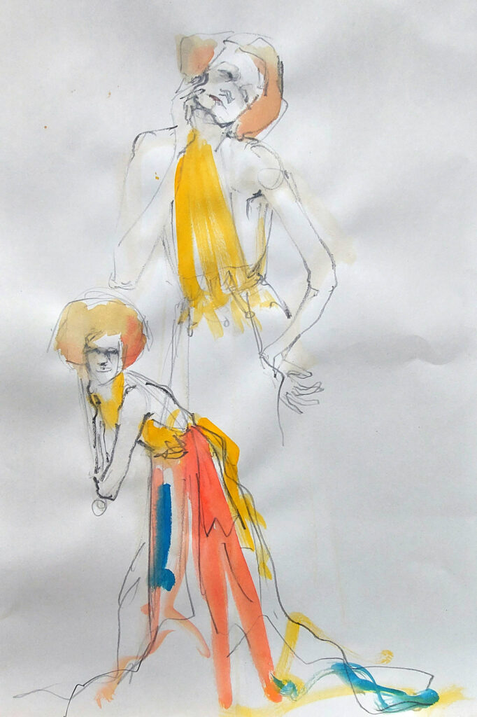 Klimt inspired Drawing Cabaret Couture online session (Model: Janet Mayer sets and direction Mathew Lawrence Fashion: Genieve Couture and We Are Fep) 2-minute poses