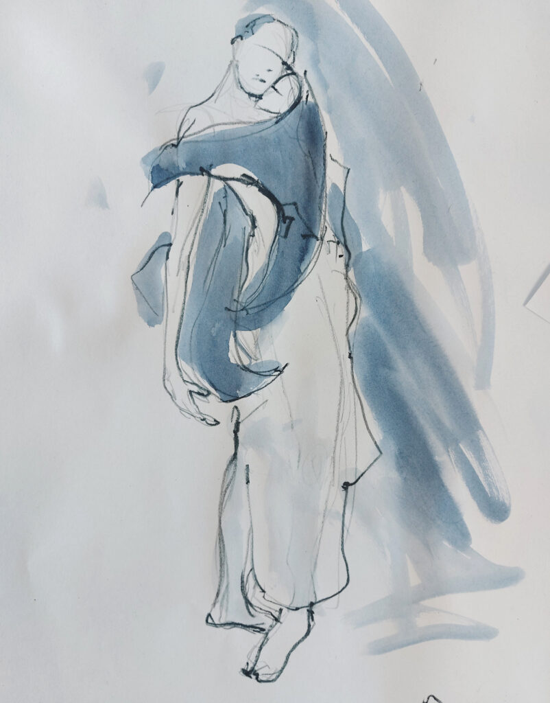 Drawing Cabaret Couture online session. Sensual and kinetic fashion by Lisa Jiang and Laura Civetti (Model Janet Myer, sets and direction by Mark Lawrence). 2 minute pose in charcoal and ink.