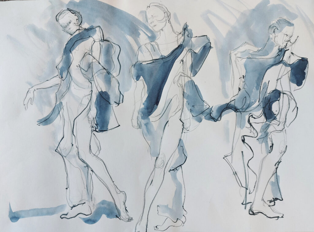 Drawing Cabaret Couture online session. Sensual and kinetic fashion by Lisa Jiang and Laura Civetti (Model Janet Myer, sets and direction by Mark Lawrence). 2 minute poses in charcoal and ink.