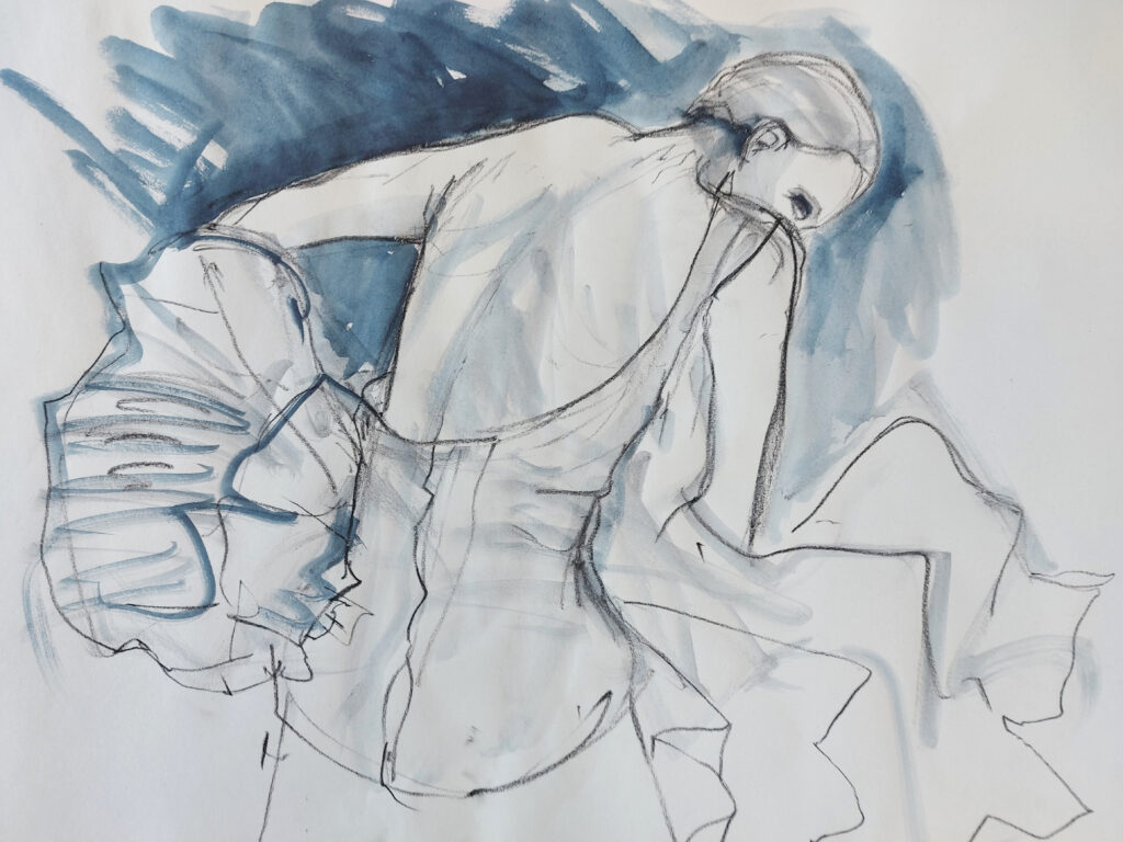 Drawing Cabaret Couture online session. Sensual and kinetic fashion by Lisa Jiang and Laura Civetti (Model Janet Myer, sets and direction by Mark Lawrence). 10 minute pose in charcoal and ink.
