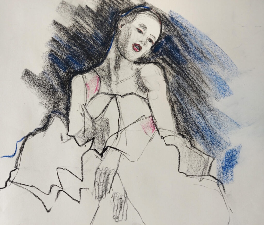 Sensual and kinetic fashion by Lisa Jiang and Laura Civetti (Model Janet Myer, sets and direction by Mark Lawrence). 10 minute pose in pastel, charcoal and ink.