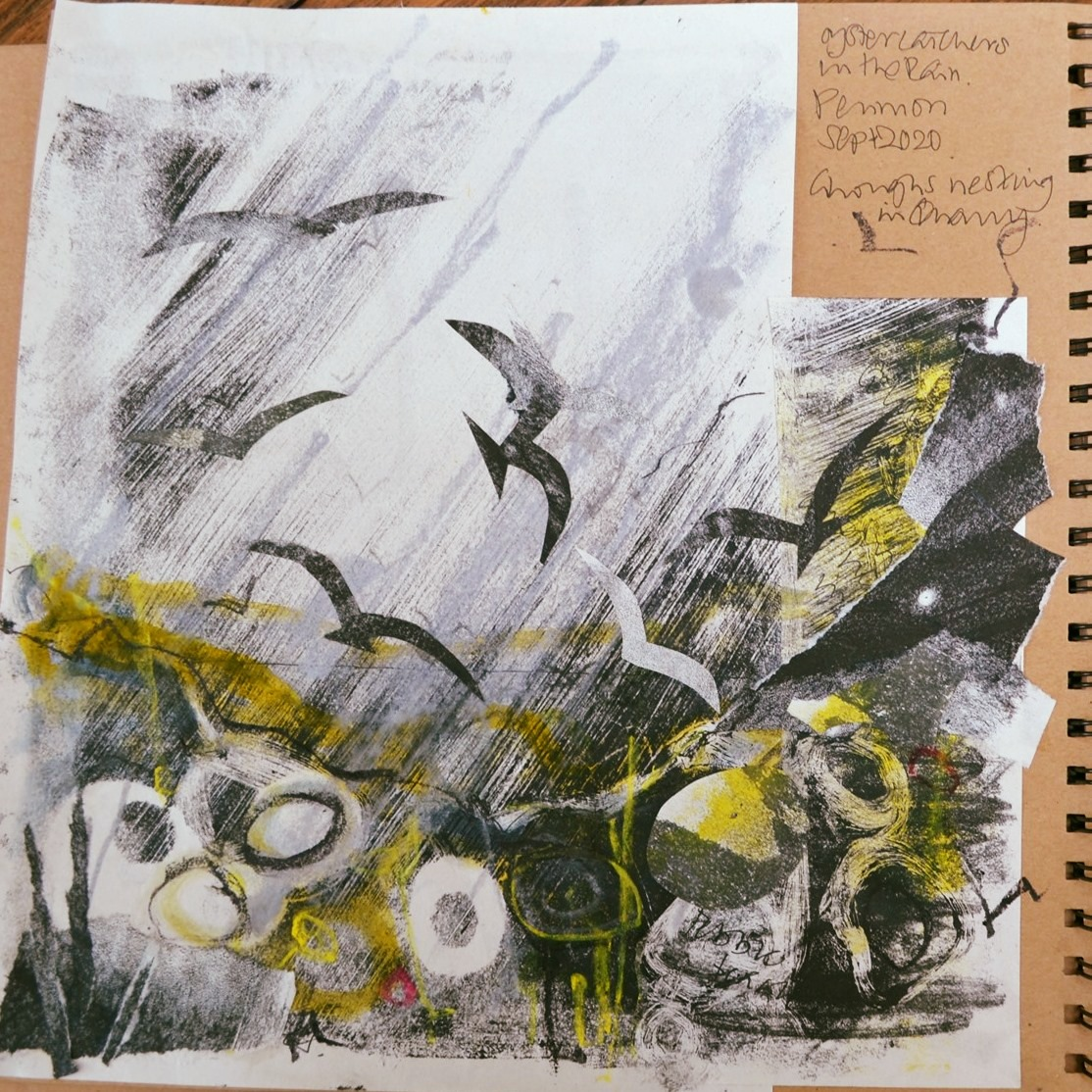 Oystercatchers. Collaging monoprints with over-painting and mark-making in ink and pastel.