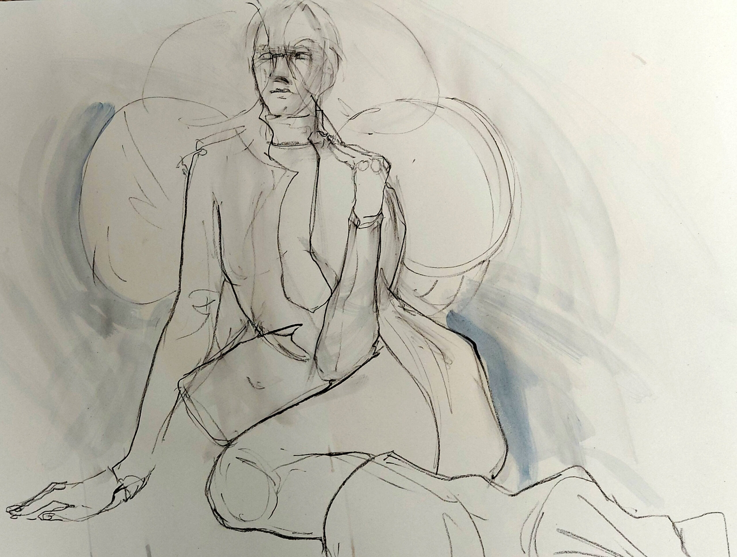 Drawing Cabaret Couture online session with fashion by @johanneswarnke. (Model Janet Myer, sets and direction by Matthew Lawrence). Five-minute poses in graphite and ink.